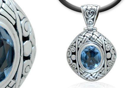 Silver pendant with Blue quartz stone, hinge. Balinese Motif