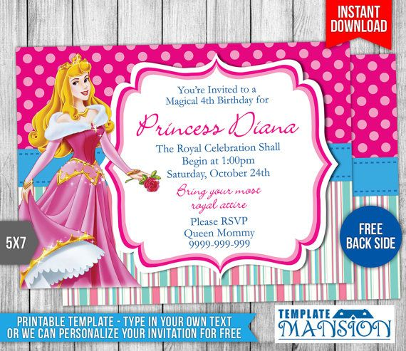 34 best Disney Princess Invitation Printables images on Pinterest - bday invitations templates