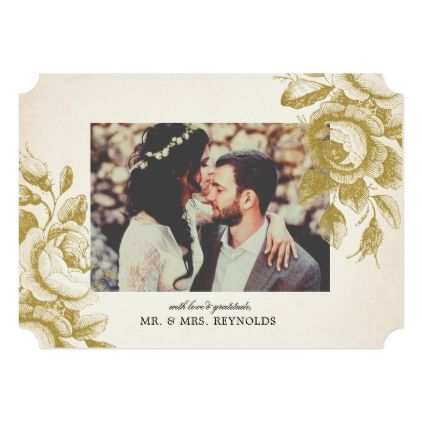 Vintage Roses Wedding Thank You Card - invitations personalize custom special event invitation idea style party card cards