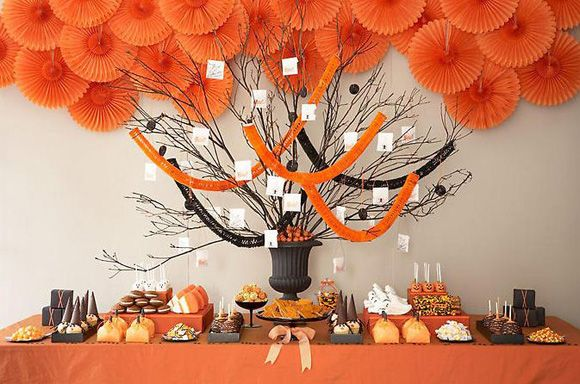 Sweet Dessert Table Ideas For Your PartyHalloween Wedding, Halloween Desserts, Halloween Candies, Halloween Parties Ideas, Halloween Trees, Candies Buffets, Halloween Table, Desserts Tables, Baby Shower