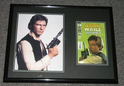 Harrison Ford Signed Framed Han Solo 18X24 Poster Photo Display Jsa St @ niftywarehouse.com #NiftyWarehouse #Geek #Products #StarWars #Movies #Film