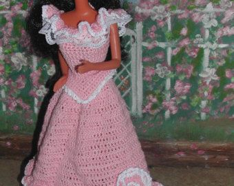 (1) CROCHET FASHION- 412 CRINOLINE LADY #2 for 11 1/2 Fashion Dolls such as Barbie-Original Design from ICS Original Designs- Make with #10 Crochet Thread.  If you would like to have the patterns emailed to you rather than mailed shipping will be FREE but please let me know with your payment that this is what you want.  Buyers outside USA-Patterns are available through EMAIL ONLY  THESE PATTERNS ARE FOR PERSONAL USE ONLY AND ARE NOT FOR RESALE. YOU MAY HOWEVER SELL THE FINISHED PRODUCT.