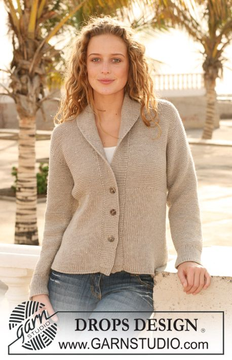 "Knitted DROPS Jacket with rib in ""Merino Extra Fine"". Size S - XXXL. ~ DROPS Design"