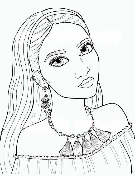 Girl With Tassel Necklace With Images Cute Coloring Pages