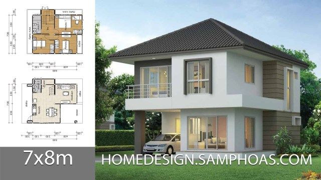 House Design Plans 7x8m With 3 Bedrooms Home Ideassearch Home Building Design House Design Home Design Plans