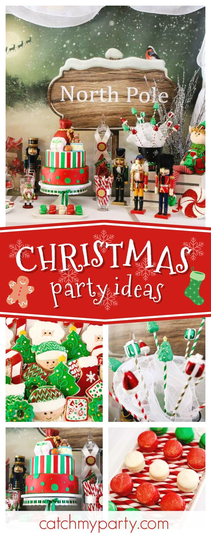 Take a trip to the North Pole this Christmas and check out this fun party! The mix of Christmas cookies are so cool!! See more party ideas and share yours at CatchMyParty.com #party #northpole #holidays #santa #christmas
