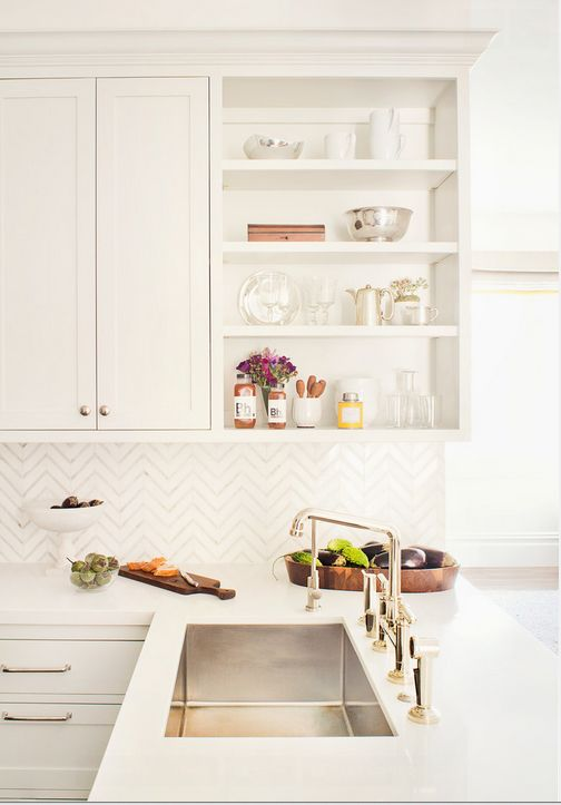 White cabinetry, open storage, stainless undermount sink, backsplash | Jute Interior Design