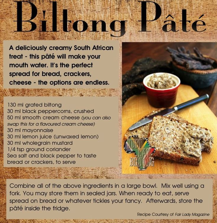 Amazing spread for bread, crackers and cheese. It tastes amazing!. You can even use beef jerky instead of biltong.