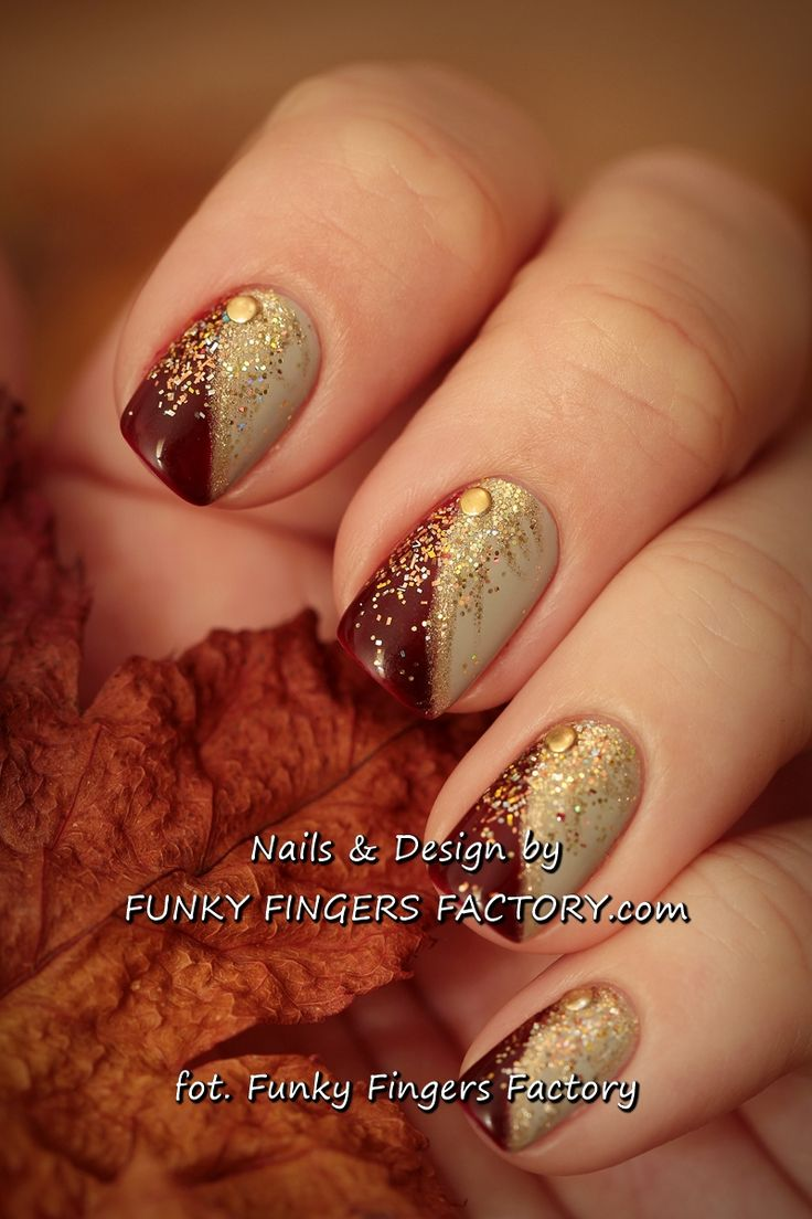 25 unique thanksgiving nail art ideas on pinterest thanksgiving gelish autumn nails with gold glitters and studs by funkyfingersfactory prinsesfo Choice Image