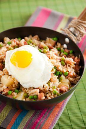 Paula Deen Ham Fried Rice with Pineapple and Fried Egg