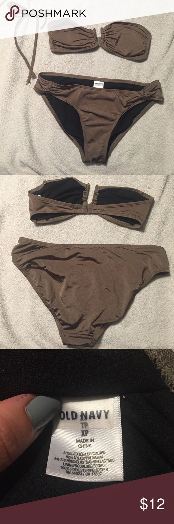 Old navy swimsuit Bronze old navy suit. Xs top and S bottom. Includes a strap for top, in good condition worn a couple times Old Navy Swim Bikinis