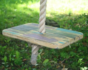 colorful rope swing, wide plywood seat, Grand swing noir, Balançoire, adult sized large green rustic swing, jute rope 1.2 inch (3 cm) thick
