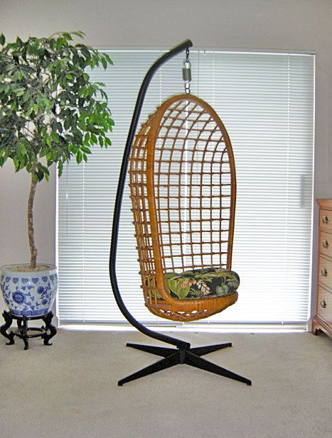 Vintage 1960s Hanging Wicker Chair Amp Original Cast Iron