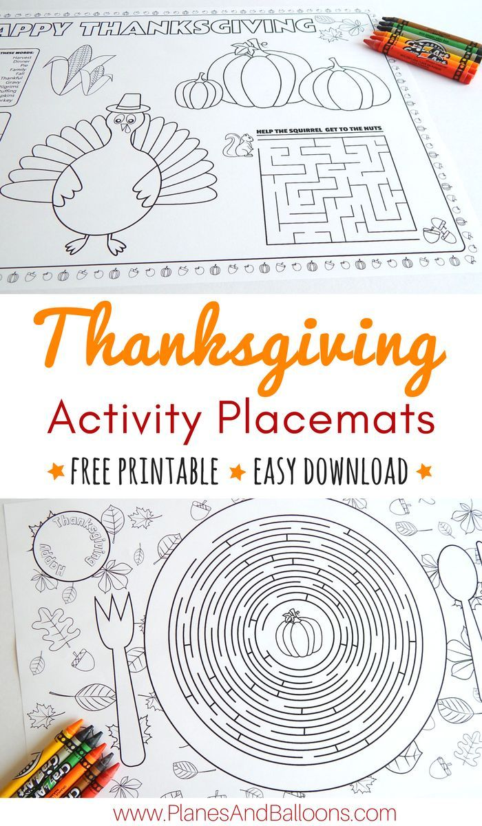 Thanksgiving placemats kids will love to color and work on during your holiday dinner. Download your Thanksgiving placemats printable for free today! Easy and fast download!