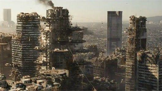 Imagem de como seria a Terra daqui a alguns anos ou seja super populosa e devastada pela poluição em todos os sentidos.