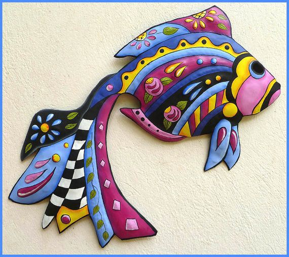Whimsical Tropical Fish Wall Hanging, Hand Painted Metal, Tropical Decor, Funky Art, Metal Wall Art, Haitian Art, Garden Decor -  by TropicAccents