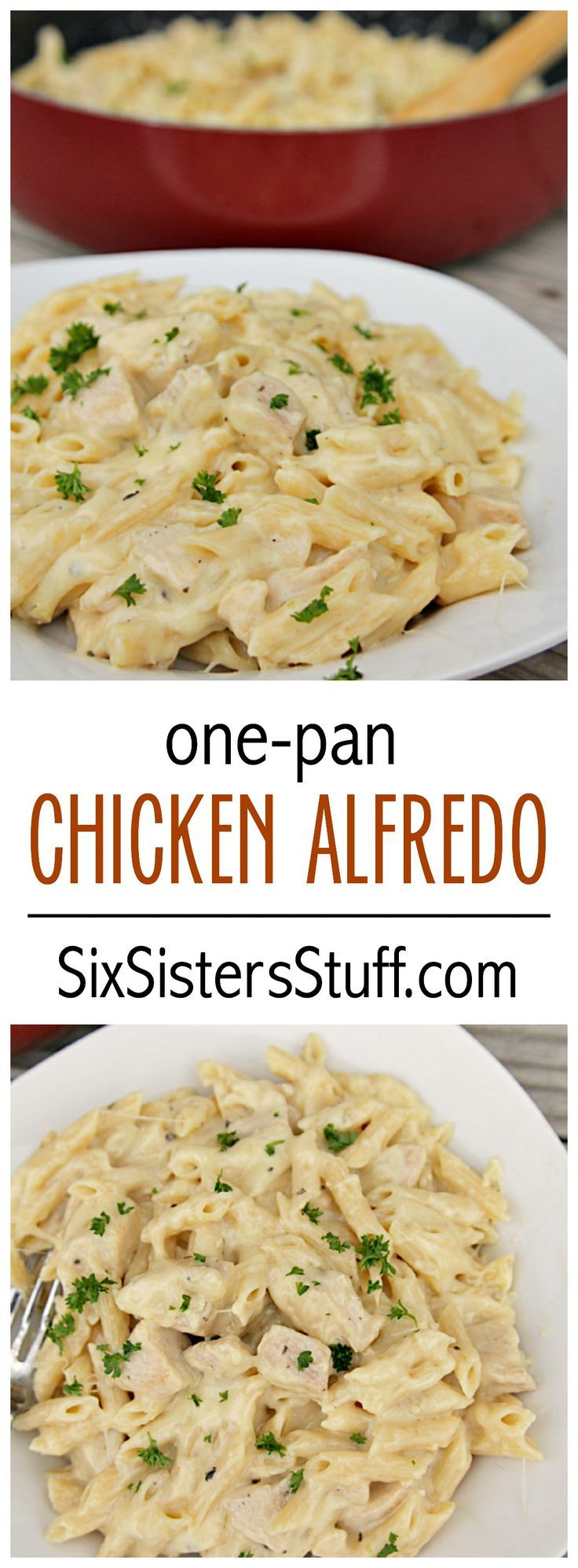One-Pan Cheesy Chicken Alfredo on SixSistersStuff.com  This is wonderful! I added 1T. Italian Seasoning and used 2 Cups Parmesan cheese. Rose