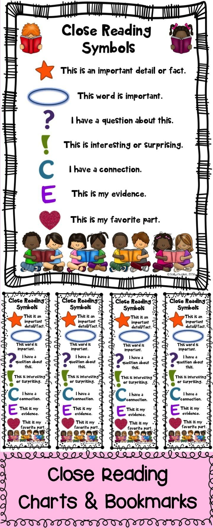 These Close Reading symbol charts & bookmarks are a must have during your close reading lessons! The file includes charts (2 color and 2 blackline masters) and bookmarks (1 color and 1 blackline master). You can use these as anchor charts, as posters, in notebooks, or in your students' close reading folder.