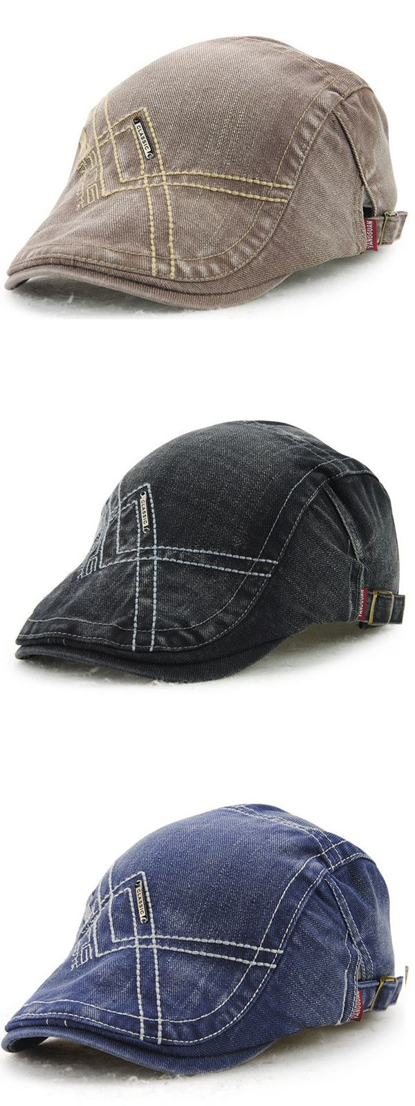 $10.11 Six Colors Men Denim Washing Beret Cap Casual Outdoor Sun Visor Hat