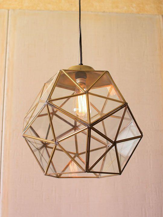 Gold Glass Geometric Large Pendant Light & Best 25+ Large pendant lighting ideas on Pinterest   Contemporary ... azcodes.com