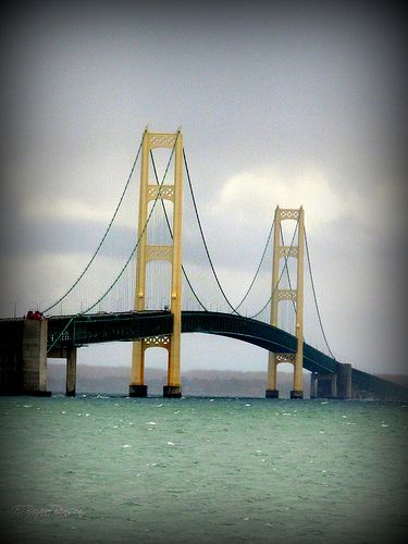 Our campsite will let us drive over this bridge and also be able to view it.  Mackinac Island Bridge, Michigan
