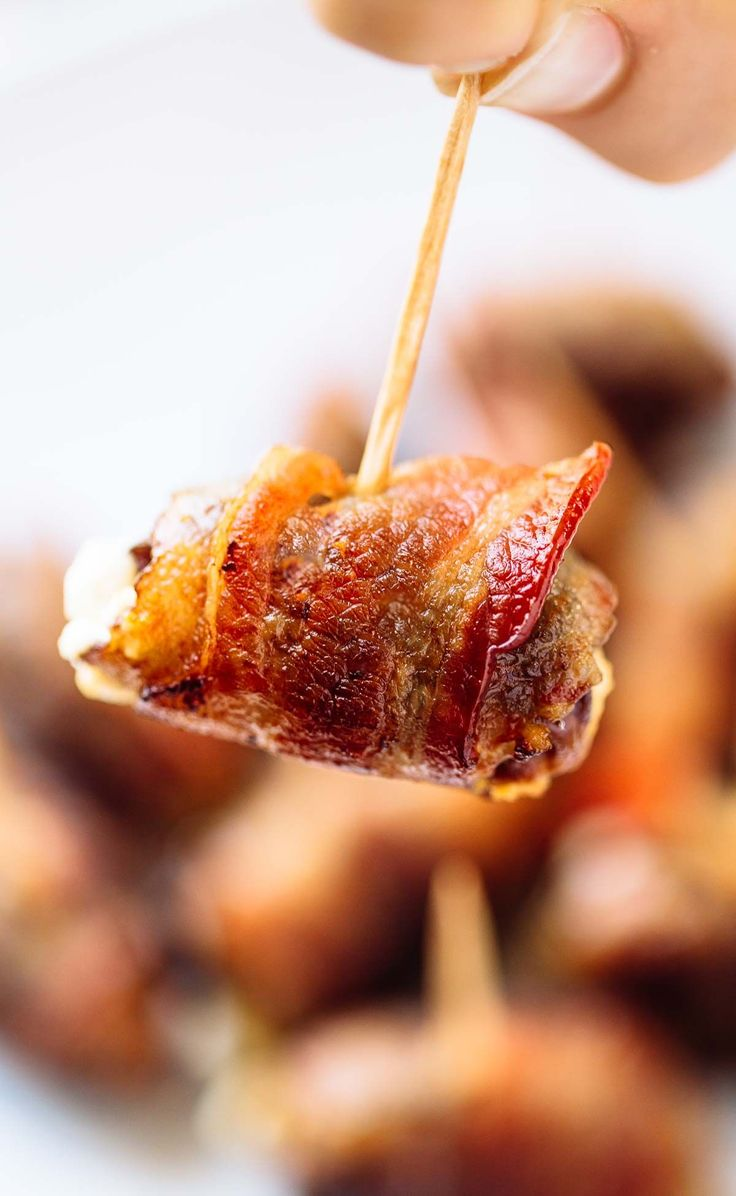 Bacon Wrapped Dates with Goat Cheese - an easy 3-ingredient appetizer recipe that will blow you away! | pinchofyum.com