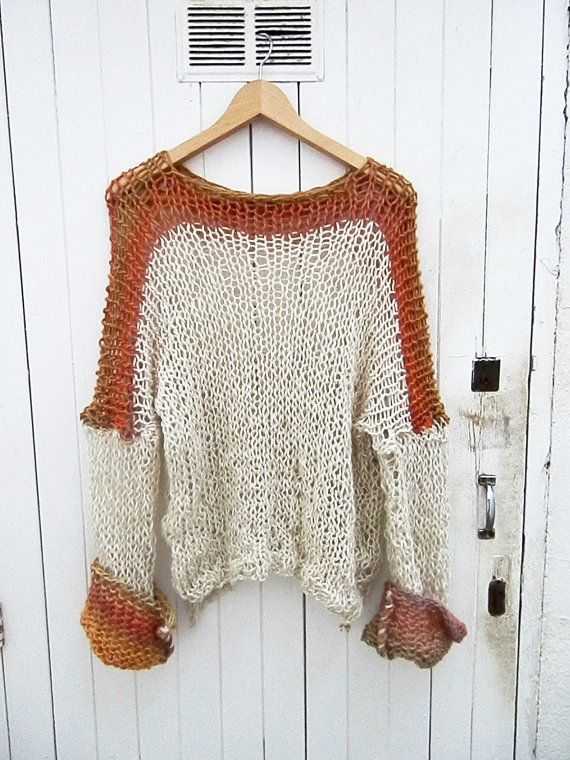Boho sweater loose weave white  cotton linen by armarioenruinas
