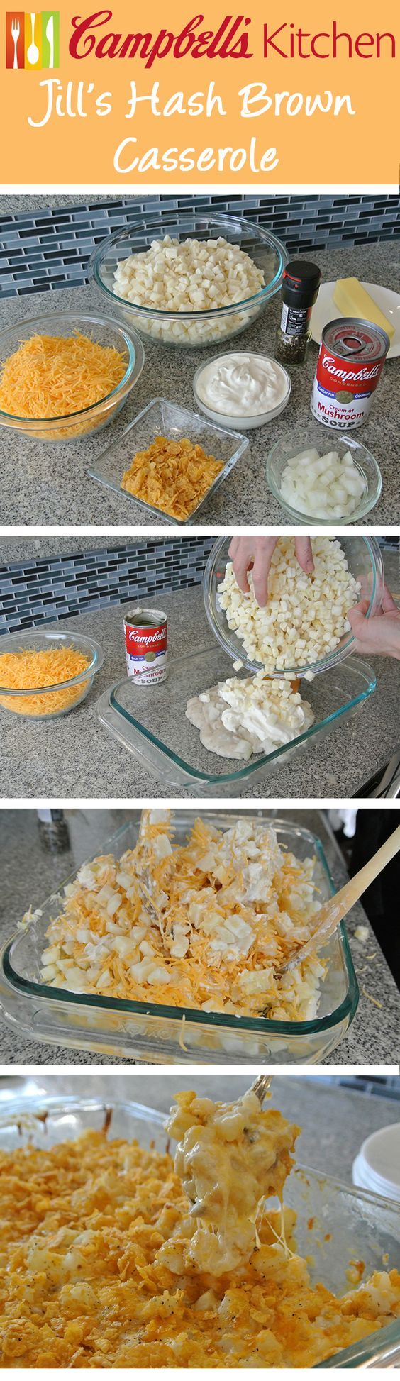 Jill's Hash Brown Casserole Recipe - Perfect for brunch or breakfast!---Campbell's actual recipe calls for 2 cans of Campbell Condensed Cream of Potato soup instead of the mushroom.