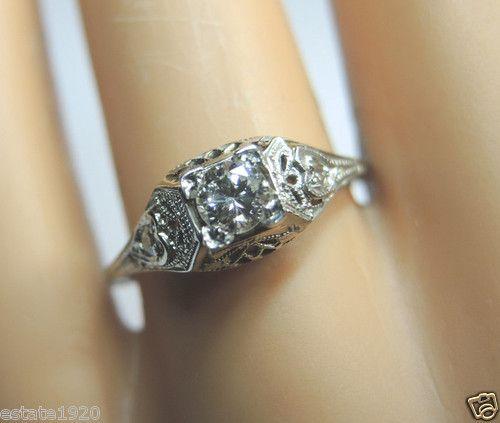 Antique Diamond Engagement Ring Solitaire Vintage 18K Art Deco Vintage Estate | eBay
