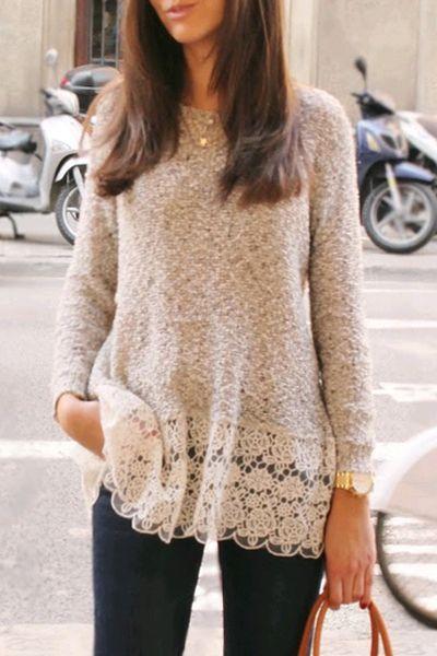 Lace Spliced Hem Long Sleeve Knitwear