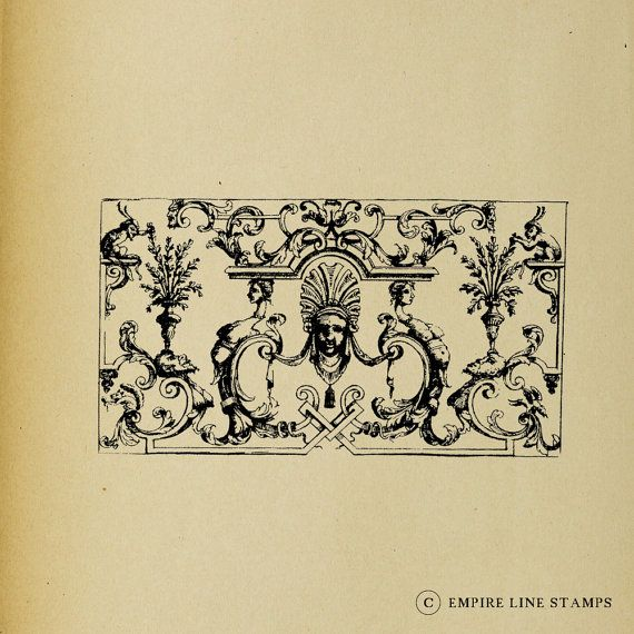 French 18th Century Ornate Wall Panel  Digital by EmpireLineStamps