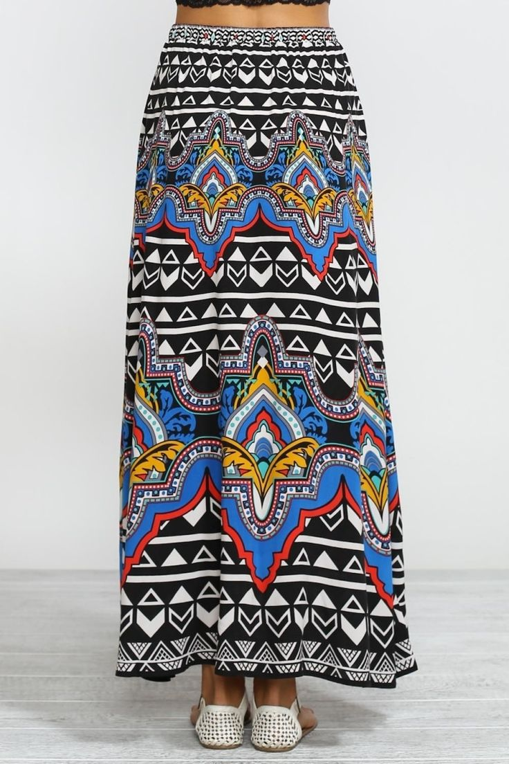 Black Tribal Print Maxi Skirt