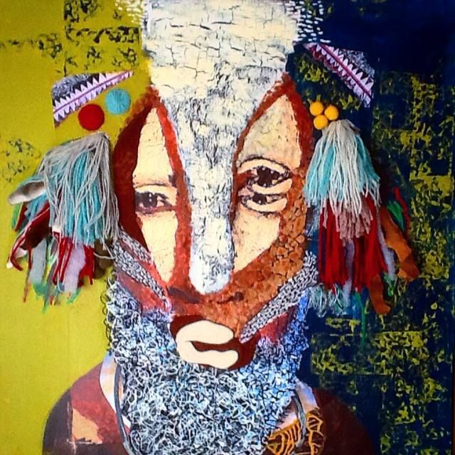 Forest man (70x70, canvas, mixed media art, acrylic, collage)