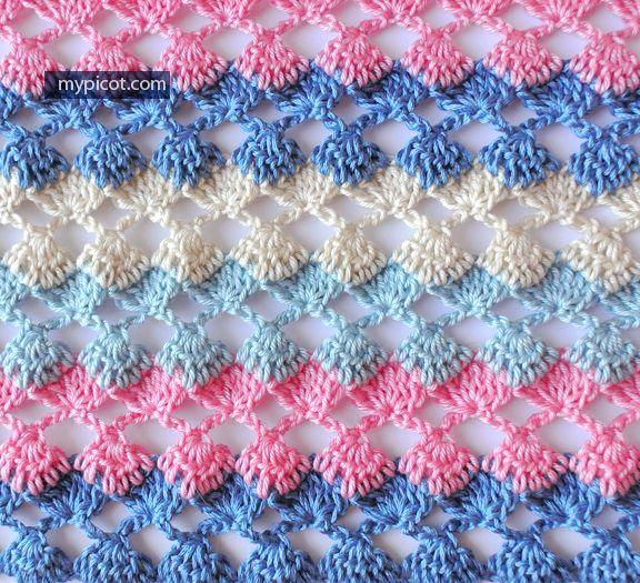 MyPicot | Free crochet patterns. Openwork Crochet Stitch Diagram + step by step instructions