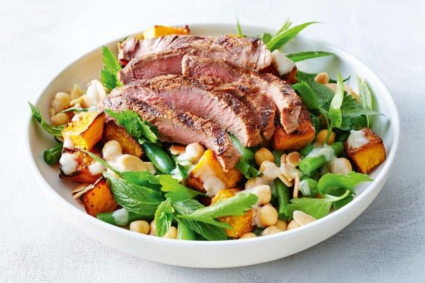 Warm salads are not only nutritious, but also satisfying when packed with vegetables, protein and fibre like this one.