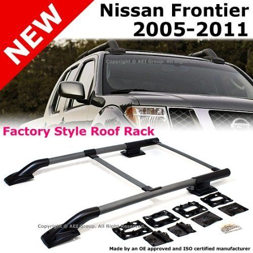 Nissan Frontier 2005 to 2011 Silver Roof Top Rack Rail Cross Bar Luggage Carrier Kit