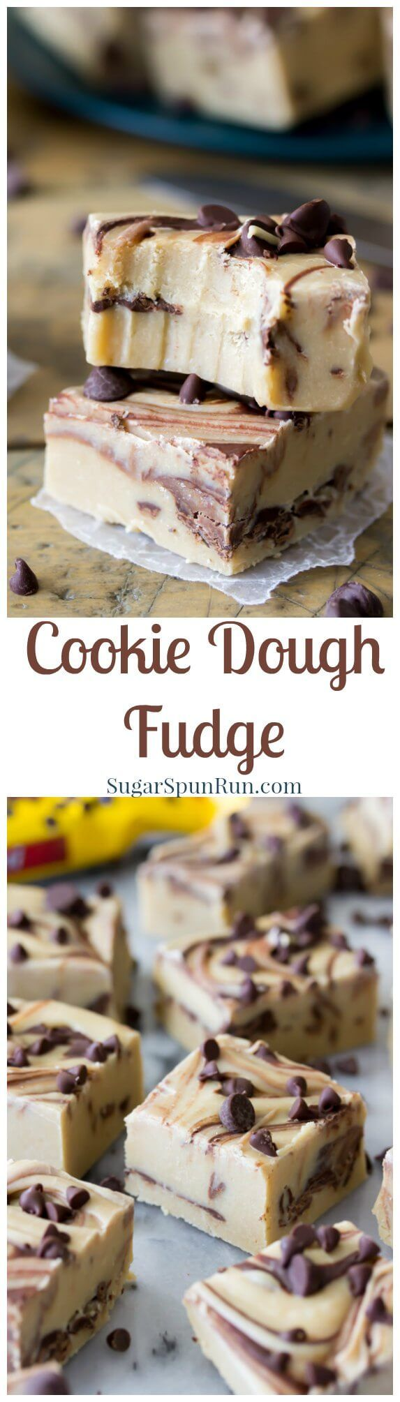 Cookie Dough Fudge, so easy, and good, no candy thermometer required! @sugarspunrun