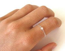 delicate ring // delicate sterling silver chain and tiny cz diamond, tiny silver ring, thin silver ring, cz ring