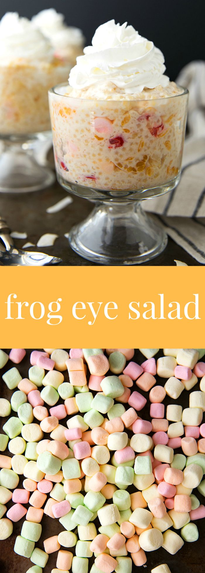 A delicious and classic Thanksgiving side-dishsalad -- frog eye salad with some healthier ingredient swaps!