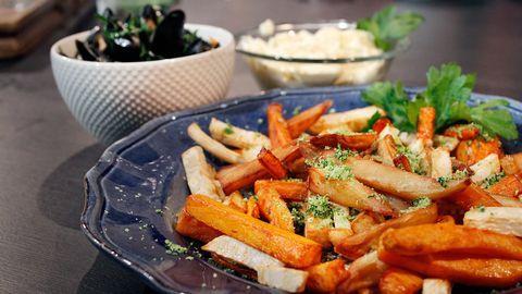 Moules frites med rotfrukter