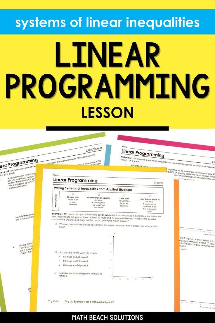 Linear Programming Lesson Linear Programming Algebra Lesson Plans Writing Systems