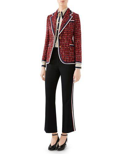 560a3972ffd -81PG Gucci Geometric Tweed Blazer Jacket Boot-Cut Cady-Stretch Cropped  Pants
