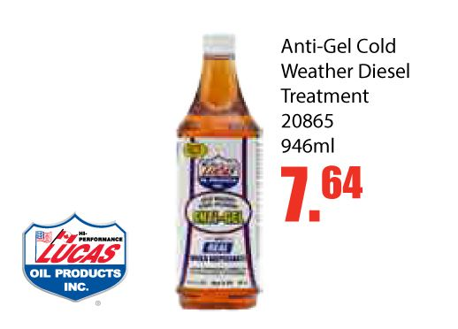 Have a diesel vehicle? Use this product!Lucus Anti-Gel Cold Weather Diesel Treatment is Only $7.64 EA until Nov 30, 2016. This product is specifically designed to prevent cold filter plugging in diesel and bio-diesel fuels. Manufactured with the highest quality components to provide maximum performance.- Contains Real water dispersants to effectively remove moisture from the entire fuel system- Lowers the cold filter plugging point of ULSD and Biofuels- Prevents fuel thickening and gelling…