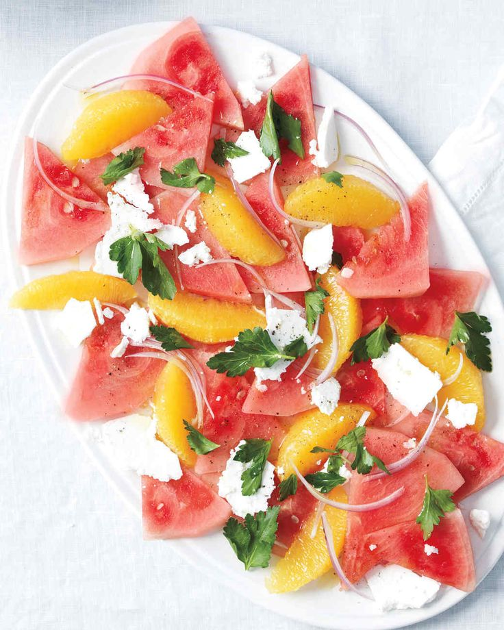 Watermelon, Orange, and Feta Salad | Martha Stewart Living - We love salty-sweet combinations, and this salad is a great play on those flavors. It's also got a refreshing crunch.