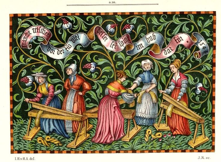 """tapestry apparently in the Bayerisches Nationalmuseum, Munich -- here as reproduced in Hefner-Altaneck, """"Trachten, Kunstwerke..."""" (1880s) vol.7 pl490. Women breaking flax -- but one standing idly hands on hips. German, dated 1544. Banderole: """"manche retschet vor der tur/ viel besser sei [recte 'sie'] spint im hub darfur 1544"""" [many gossip before the door/ much better they should be spinning at home] But note the historical gesture! In 1544 hands on hips already signalled idleness!"""