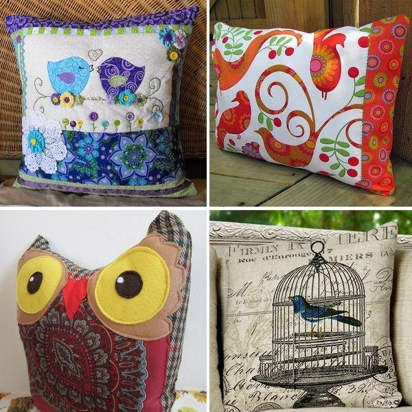 Almohada con aves: sólo ideas | Manos Hábiles