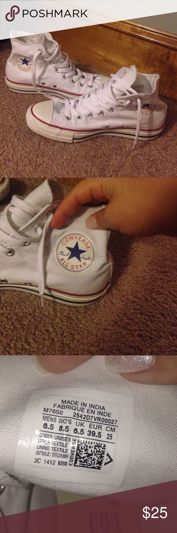 Chuck Taylor Converse All Stars White Chuck Taylor High Tops. Perfect condition. Only wore once. Size 8.5 in women's. Converse Shoes Sneakers