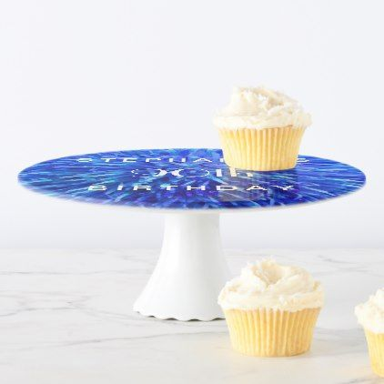 #Blue Abstract Cake Stand 90th Birthday Party Cake Stand - #giftidea #gift #present #idea #number #thirty #thirtieth #bday #birthday #30thbirthday #party #anniversary #30th