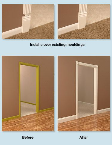 rapidfit moulding crown base door frame goes over existing molding