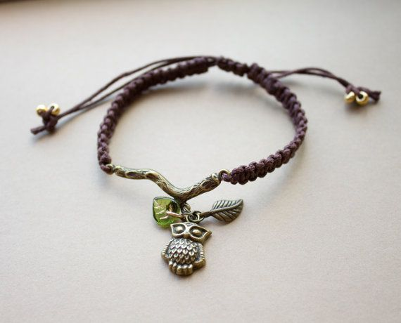 Macreme owl and leaves on a branch bracelet to support WWF Canada by HowlOwl.